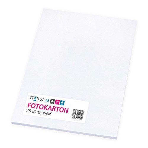itenga Fotokarton weiß 25 Blatt A4 300 g/qm - Tonpapier Tonkarton Druckerpapier Bastelpapier Bogen durchgefärbt zum kreativen Gestalten und Basteln