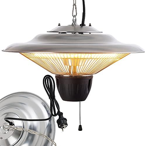 Arebos 1.500 W Deckenheizstrahler | Balkonheizer | Zeltheizer | Terrassenstrahler | 360° Wärme | Low-Glare-Technologie | Hängend | Silber mit Zugschalter