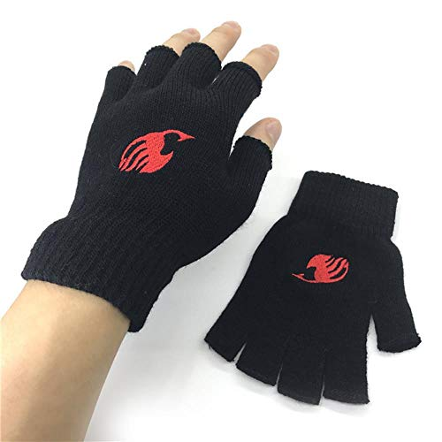 Fingerless Exercise Grip Gloves Anime Black Butler Fingerlose Handschuhe Strickstickerei Fairy Tail - red
