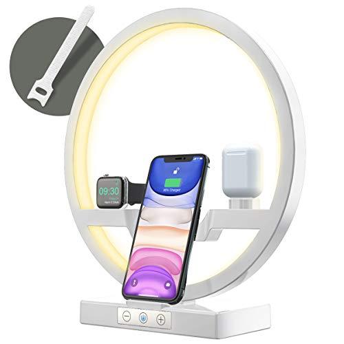 Bestrans Wireless Charger mit LED Lampe, Wireless Ladestation 3 in 1 für AirPods Apple Watch 5/4/3/2, iPhone 11/XS/XS Max/XR/X/8, 3 Arten Lichter Justierbar, Notenknopf ändern Lichtintensität(Weiß)