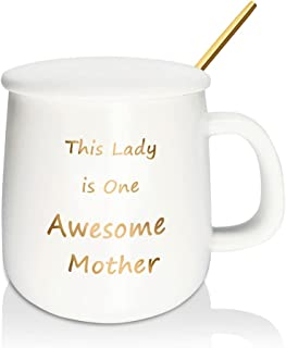 Mikonca Awesome Mother Coffee Mug White Ceramic Cup for Mother Novelty Present with Gift Box and Gift Card 400ml