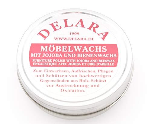 DELARA Lederbalsam mit hochwertigem Bienenwachs, Lederpflege, die das Leder weich, geschmeidig und atmungsaktiv Macht, 75 ml Dose, Farbe: Braun – Made in Germany