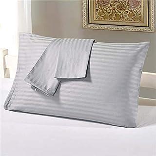 Kingtex Silver Satin Stripe Pillow Cover 2Pcs Set, 50x75cm, PLC11181.1 SI