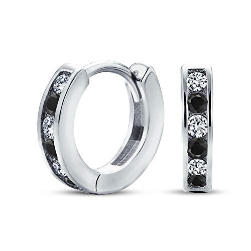 Black White Alternating Cubic Zirconia CZ Channel Set Small Kpop Huggie Hoop Earrings For Women Men 925 Sterling Silver