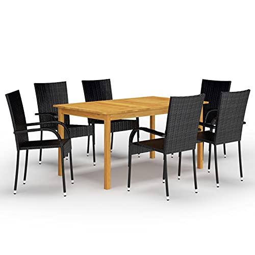 Tidyard Juego de Comedor para jardín de 7 Piezas Negro Mesas de Comedor de Patio Conjuntos de Muebles de jardín