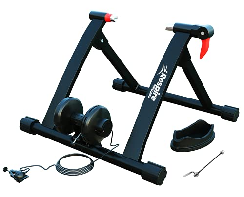 Respire Fitness 6-Speed Magnetic Bike Turbo Trainer and Bicycle Training Stand for Mountain and Road Cycling, Professional Indoor Resistance Wheel Mount with Smooth Flywheel, Compact and Portable
