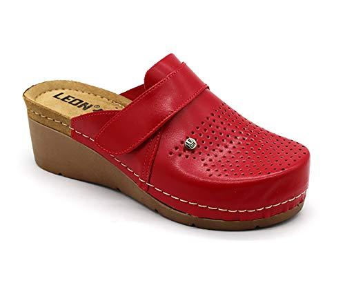 LEON 1001 Zuecos Zapatos Zapatillas de Cuero para Mujer, Rojo, EU 37