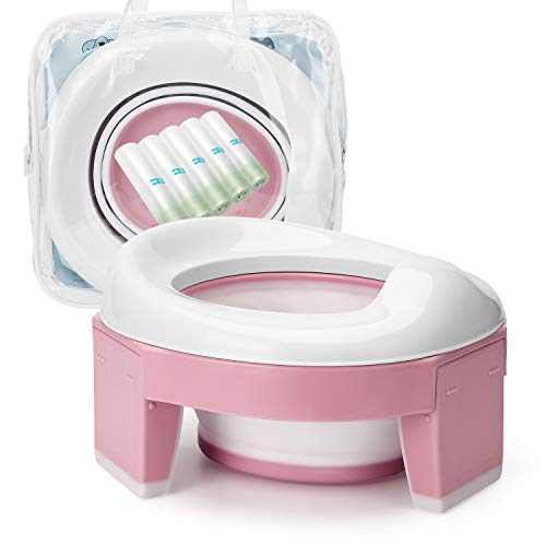 HEOATH 3-in-1 Go Potty for Travel, Portable Foldable Potty Training & Transition Potty Seat with Storage Bag and Potty Liners (Pink)