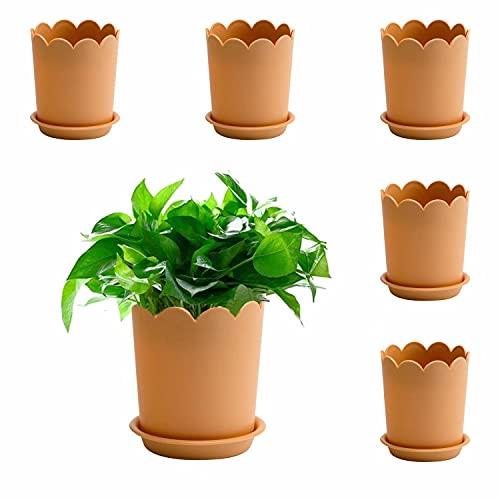 6 macetas para Plantas de Interior, macetas de plástico de 17 cm con platillo, Maceta de jardín con Orificio de Drenaje y Bandeja para Flores, Hierbas, suculentas, Cactus