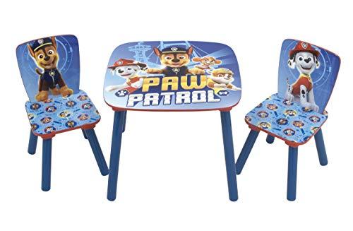 Familie24 3tlg. Paw Patrol Kindersitzgruppe Tisch + 2X Stuhl Sitzgruppe Kindertisch Maltisch Sitzgruppe Kindertisch