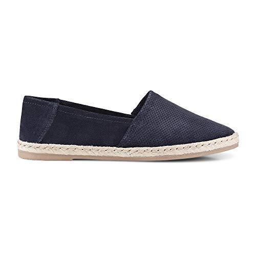 Cox Damen Fashion-Espadrille aus Leder, Slipper in Blau mit Sohle aus geflochtenem Bast Blau Rauleder 37