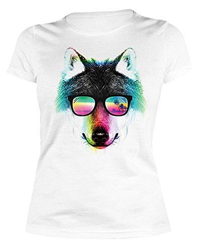 Sexy Gierlie Shirt mit farbenfrohem Motiv: Summer Wolf, Wolf mit Sonnenbrille - Damen Shirt - Farbe: Weiss
