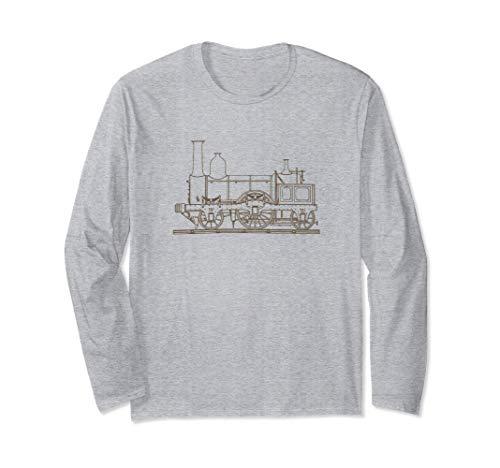 Hand gezeichnete Dampflokomotive Vintage Railroad Engine Langarmshirt