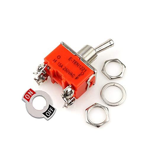 Kfdzsw Interruptores Palanca 1PCS E-TEN1221 Interruptor 15A 250VAC 4PIN ON-Off El Interruptor de Palanca basculante Naranja Micro Interruptor Interruptor de alimentación (Color : E TEN1221)