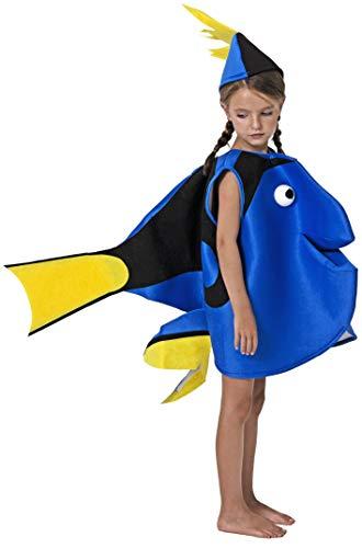 Gojoy Shop- Disfraz de Pez Azul para Niños y Niñas Carnaval (Contiene Sombrero y Disfraz, 4 Tallas Diferentes) (5-6 años)