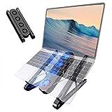 Laptop-Ständer, Laptop-Ständer, zusammenklappbar, tragbar, Laptop-Ständer, ergonomisch, höhenverstellbar, mit Lüfter, für MacBook Pro/Skrebba/Povo/Lidasen Notebook Computer/Tablet (schwarz)