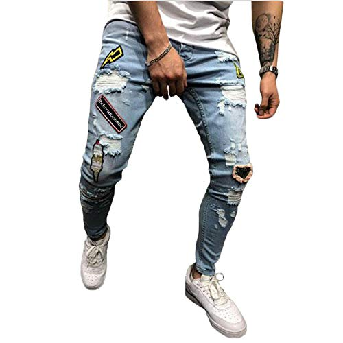 Herren Slim Fit Destroyed Zerrissene Skinny Denim Jeans Komfortable Stretch Patches Biker Jeans Hosen (Blau, S)