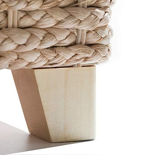 Büloo Bettbank Schlafzimmerbank Flurbank Schuhbank Sitzbank mit Aufbewahrung AufbewahrungshockerFaltbarer Aufbewahrungsbox aus natürlicher Wasserhyazinthe,mit Füße (112x40x40 Grau) - 5