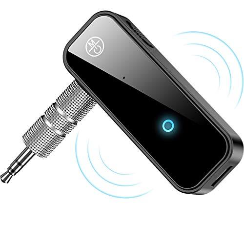 Receptor Bluetooth 5.0 para Auto,Bluetooth música audio estéreo adaptador receptor,Manos Libres Bluetooth Receiver de Coche con AUX Adaptador de Audio 3.5mm,para el hogar MP3 para coche música sistema de sonido llamar Micrófono incorporado
