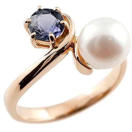 [アトラス]Atrus リング レディース 18金 ピンクゴールドk18 アイオライト 真珠 フォーマル 指輪 宝石 22号