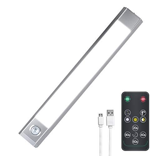 LED Unterbauleuchte mit Fernbedienung, USB Aufladbar Batterie Schrankbeleuchtung LED Kleiderschrank Licht mit Bewegungsmelder für Küche, Kleiderschrank, Treppe, Warmweiß, Kaltes Weiß und Weiß