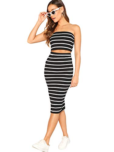 SheIn Women's 2 Pieces Striped Crop Bandeau Top and Split Skirt Cotton Set Black Florida