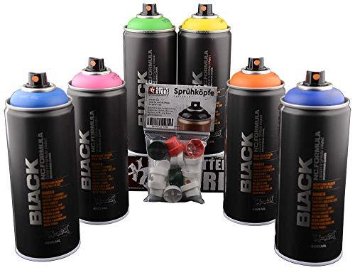 klamottenstore Sprühdosen Set Graffiti Box Sommer Jam Montana Black mit Ersatz Caps alle Strichbreiten für Hobby Handwerk Dekoration