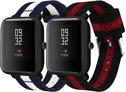 Gransho Correa de Reloj de NATO Nailon Compatible con Galaxy Watch 42mm / Watch 3 41mm / Watch Active, Mujer y Hombre, Hebilla de Acero Inoxidable (20mm, Pattern 1+Pattern 5)