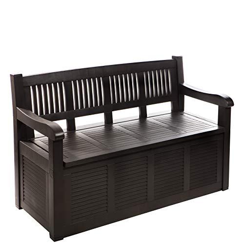 Gartenbank Truhenbank, 2-Sitzer, ca. 280 Liter, aufklappbare Sitzfläche mit XXL-Stauraum, aus stabilem Kunststoff, Fb. Anthra-braun
