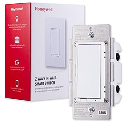 Honeywell UltraPro Z-Wave Plus Smart Light Switch, In-Wall White & Almond Paddles | Built-In Repeater Range Extender | ZWave Hub Required - Alexa and Google Assistant Compatible, 39348