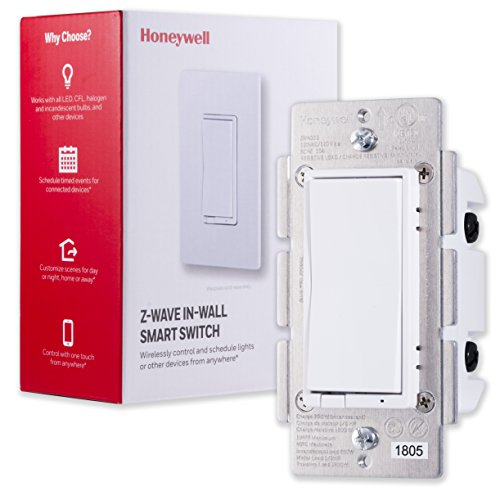 Honeywell Z-Wave Plus On/Off Smart Light Switch, In-Wall Paddle, Interchangeable White & Almond | Built-In Repeater & Range Extender | ZWave Hub Required - SmartThings, Wink, Alexa Compatible, 39348