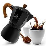 Schwarzwald Spirit Espressokocher Induktion geeignet inkl. 2 Espressotassen - Aluminium Espressokanne für 6 Tassen I Kaffeekocher, Espresso Maker (schwarz, 6 Tassen)