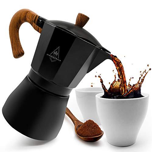 Schwarzwald Spirit Espressokocher inkl. 2 Espressotassen - Aluminium Espressokanne für 6 Tassen I Kaffeekocher, Espresso Maker (schwarz, 6 Tassen)