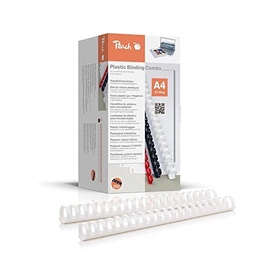 Peach PB428-01 Binderücken, Plastikbindung, DIN A4, Bindekapazität 270 Seiten, 50 Stück Weiß