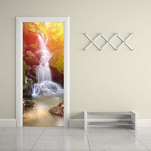 CURTAINSCSR Mural de puerta cascada paisaje calcomanía de pared decoración del hogar pegatinas de papel autoadhesivo decoración de pared pegatinas de ...