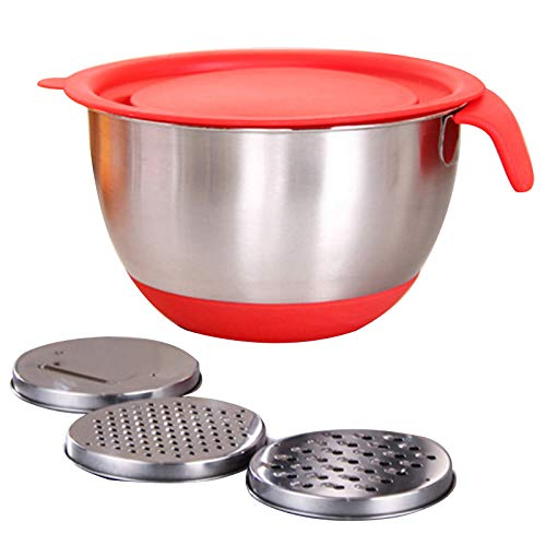 MSKJ Stainless Steel Non-Slip Mixing Bowls with Grater Attachments Pour Spout Handle and Lid