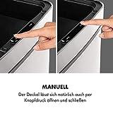 KLARSTEIN Touchless Mülleimer Sensor-Mülleimer, 72 Liter Volumen in 4 Behältern: 43 & 2 x 12,5 Liter, Bio-Eimer mit Deckel: 4 Liter, touchless: automatisches Öffnen und Schließen, Silber - 8