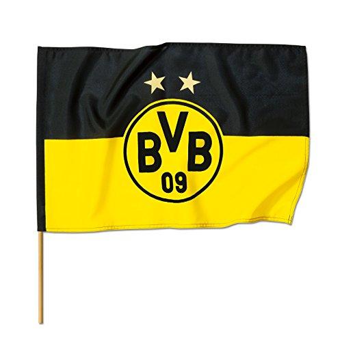 Borussia Dortmund, BVB-Stockfahne, Schwarz/gelb, 90x60cm