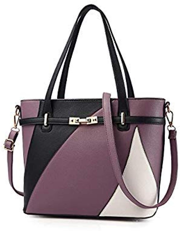 Bloomerang New Women Leather Handbags High Quality Ladies Shoulder Messenger Bag Women's Casual Tote Bag Female Patchwork Hand Bags bolsos color Purple