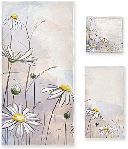 Towel Set of 3 Challenge the lowest price Art High quality new Daisy Bath Floral Wa Hand Flower