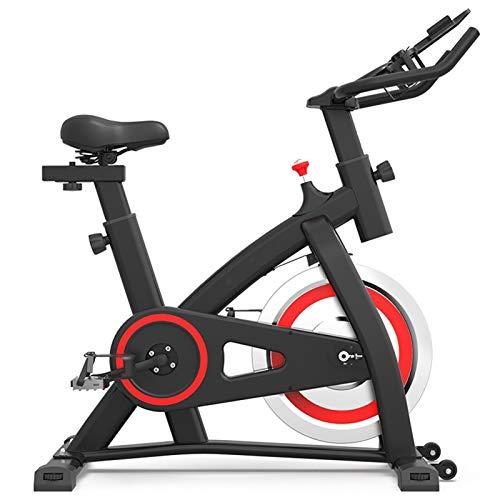 Bicicleta de ejercicio interior estacionario, tracción en el cinturón bicicletas de ciclismo con soporte para iPad con cómodo asiento de asiento para entrenamiento en bicicleta de entrenamiento en cas