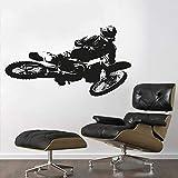 yaonuli Motocross Trucos Trucos Pegatinas de Pared de la Motocicleta para el hogar y la decoración del Motor del Garaje 57x33cm