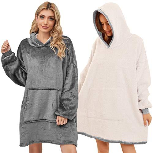 UMIPUBO Flannel Hoodie Couverture Chaude Adulte Femme Homme Sweatshirt Sweat à Capuche Automne Hiver Garder au Chaud Couverture TV Grande Poche (Gris)