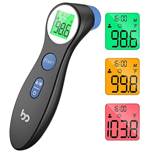 Touchless Thermometer for Adults and Kids, Non Contact Digital Thermometer for Fever, Forehead Thermometer for Home and Family, Black