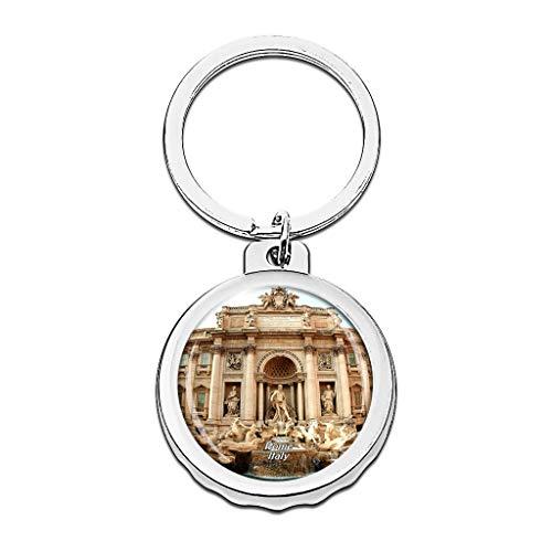 Hqiyaols Keychain Italien Trevi-Brunnen Rom Cap Flaschenöffner Schlüsselbund Creative Kristall Rostfreier Stahl Schlüsselbund Reisen Andenken
