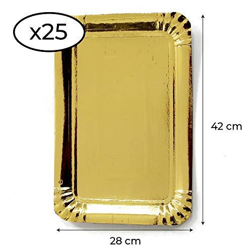 Extiff - Set mit 25 silbernen Kartonschalen von 28 x 42 cm, Präsentationsschalen für Gebäck oder kaltes Buffet (Golden)