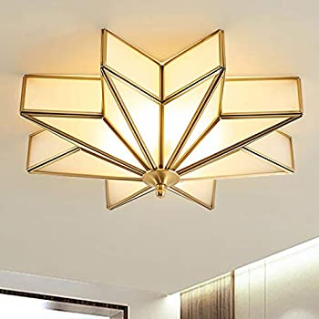 Amazon Com Litfad Modern 4 Light Led Ceiling Lamp Beveled Frosted Glass Flush Mount Lighting Fixture Traditional Brass Star Close To Ceiling Light Decorative Pendant Light For Hotel Hall Bedroom Living Room Home Improvement