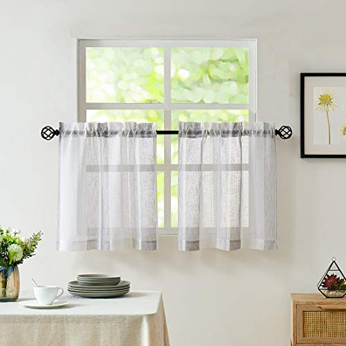 """Central Park Gray and White Kitchen Window Curtain Tiers Vertical Stripe Sheer Boucle Linen Window Curtain, Living Room Decorative Rod Pocket Rustic Living 2 Panels (28"""" W x 36"""" L)"""