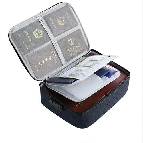 Caja de almacenamiento, bolsa de documentos impermeable, organizador con bloqueo de código seguro, certificados de archivo de múltiples capas, pasaporte, factura, cuaderno, organizador (azul marino)