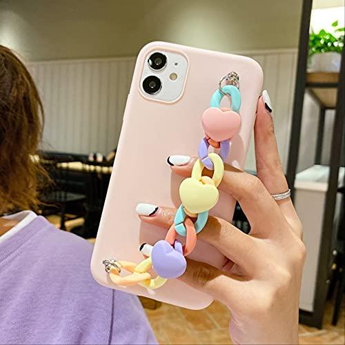 5S SE 6S Funda para teléfono con Pulsera para iPhone 11 Pro MAX 12 Mini iPhone 7 8 Plus X XR XS Funda 3D Love Macaron Pulsera Funda de Silicona iPhone 8 Plus Rosa
